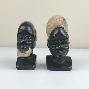 """VTG Hand Carved 4.5"""" Soapstone African Man Woman B"""